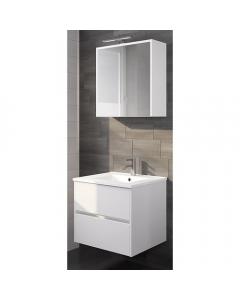 Badkamermeubel set Melle 60cm met spiegelkast Hoogglans Wit