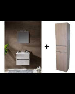 Badkamermeubel set Melle 60cm met spiegel en Hoge kast Grey Oak