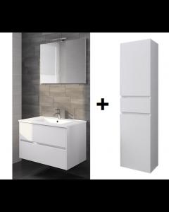 Badkamermeubel set Melle 80cm met spiegel en Hoge kast Hoogglans wit