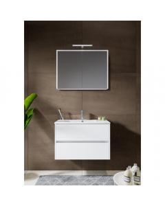 Badkamermeubel Melle 80cm met spiegelkast Hoogglans wit