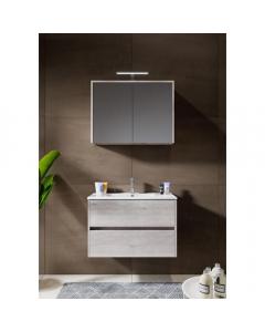 Badkamermeubel Melle 80cm met spiegelkast Grey Oak