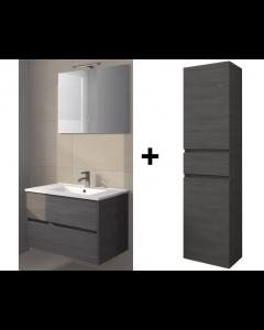 Badkamermeubel set Melle 80cm met spiegel en Hoge kast Dark Oak