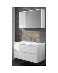 Badkamermeubel Melle 100cm met spiegelkast Hoogglans wit