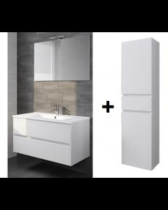 Badkamermeubel Melle 100cm met spiegel en Hoge kast Hoogglans wit