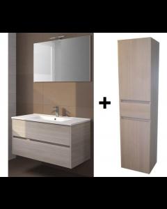 Badkamermeubel Melle 100cm met spiegel en Hoge kast Grey Oak