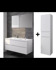Badkamermeubel Melle 120cm met spiegel en Hoge kast Hoogglans wit