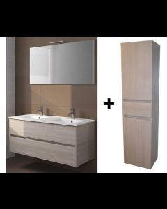 Badkamermeubel Melle 120cm met spiegel en Hoge kast Grey Oak