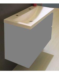 Fred kunstmarmeren wastafel 100x36 wit twee kraangaten