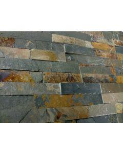 Natuursteenstrips Schiste flatface rusty slate