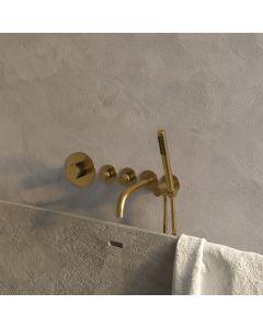 Inbouwbadkraan Thermostatisch met uitloop Set 1 Gold Edition