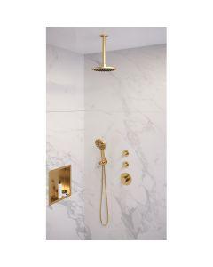 Inbouwset 7 Thermostatische Regendouche 20cm Gold Edition