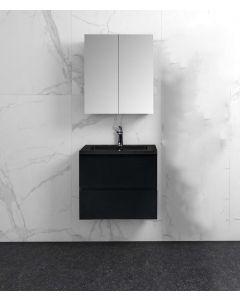 Badkamermeubel Tieme in mat zwart 600x500x480mm met zwarte wastafel en spiegelkast