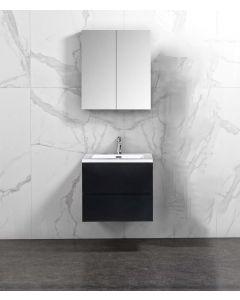 Badkamermeubel Tieme in mat zwart 600x500x480mm met witte wastafel en spiegelkast