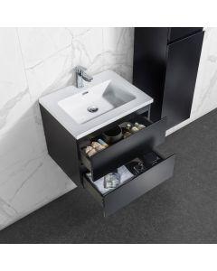 Badkamermeubel Tieme in mat zwart 600x500x480mm met witte wastafel