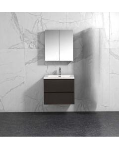 Badkamermeubel Tieme in mat grijs 600x500x480mm met witte wastafel en spiegelkast