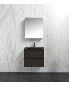 Badkamermeubel Tieme in mat grijs 600x500x480mm met zwarte wastafel en spiegelkast