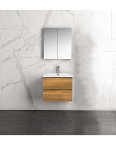 Badkamermeubel Tieme in mat eiken 600x500x480mm met witte wastafel en spiegelkast