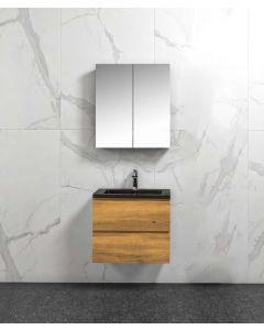 Badkamermeubel Tieme in mat eiken 600x500x480mm met zwarte wastafel en spiegelkast