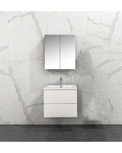 Badkamermeubel Tieme in hoogglans wit 600x500x480mm met witte wastafel en spiegelkast