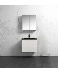 Badkamermeubel Tieme in hoogglans wit 600x500x480mm met zwarte wastafel en spiegelkast