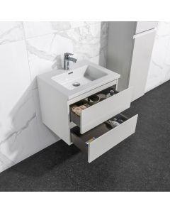 Badkamermeubel Tieme in hoogglans wit 600x500x480mm met witte wastafel
