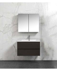 Badkamermeubel Tieme in mat grijs 800x500x480mm met witte wastafel en spiegelkast