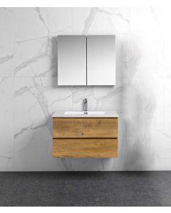 Badkamermeubel Tieme in mat eiken 800x500x480mm met witte wastafel en spiegelkast