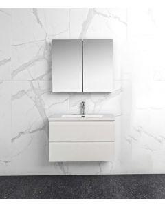 Badkamermeubel Tieme in hoogglans wit 800x500x480mm met witte wastafel en spiegelkast