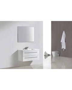 Badmeubelset Leif 100cm Hoogglans wit met spiegel