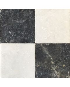 Dambord vloer wit marmer en donker hardsteen 20x20x1