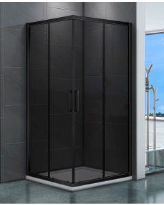 Clarke douchecabine vierkant 900x900 mm rookglas mat zwart