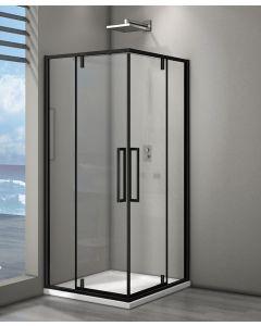 Douchecabine Egor Hoekinstap Draaideur 90x90x200cm Helder Glas Mat Zwart