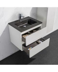 Badkamermeubel Tieme in hoogglans wit 600x500x480mm met zwarte wastafel