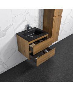 Badkamermeubel Tieme in mat eiken 600x500x480mm met zwarte wastafel
