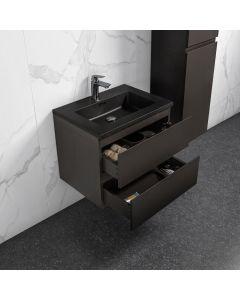 Badkamermeubel Tieme in mat grijs 600x500x480mm met zwarte wastafel