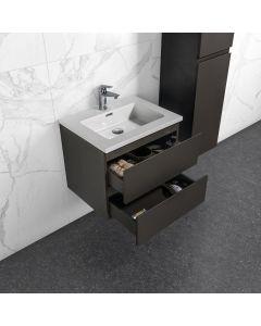 Badkamermeubel Tieme in mat grijs 600x500x480mm met witte wastafel