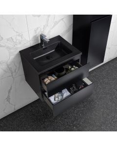 Badkamermeubel Tieme in mat zwart 600x500x480mm met zwarte wastafel