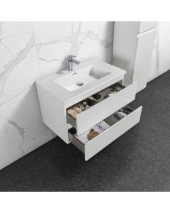 Badkamermeubel Tieme in hoogglans wit 800x500x480mm met witte wastafel