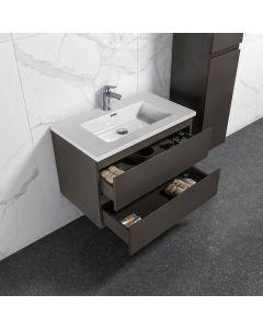 Badkamermeubel Tieme in mat grijs 800x500x480mm met witte wastafel