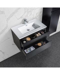 Badkamermeubel Tieme in mat zwart 800x500x480mm met witte wastafel