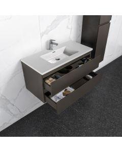 Badkamermeubel Tieme in mat grijs 1000x500x480mm met witte wastafel